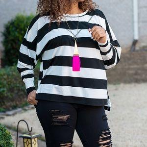 Ladies Black and White Stripe Tunic Top